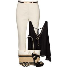 A fashion look from April 2015 featuring tie shirt, cropped pants and ankle strap sandals. Browse and shop related looks. Outfit Combinations, Clothing Items, Spring Summer Fashion, Reed Krakoff, Casual Wear, Tory Burch, Dress Up, Tori Vega, Blanco Y Negro