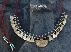 Tribal collar/ red and gold necklace/ gypsy by yasminsjewelry