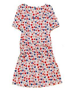 Beige Heart Print Round Neck Short Sleeve Cotton Dress
