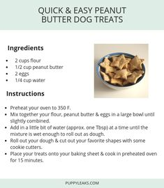 Quick & Easy Peanut Butter Dog Treats Quick & Easy Peanut Butter Dog Treats,Puppy treats Looking for a simple dog treat recipe to make? This quick & easy peanut butter dog treat recipe is. Homade Dog Treats, Homemade Dog Cookies, Peanut Butter Dog Treats, Puppy Treats, Diy Dog Treats, Homemade Dog Food, Healthy Dog Treats, Cookies For Dogs, Homemade Dog Biscuits