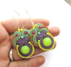 Colorful Soutache Earrings with Beads Gems Soutache Braid Glamour and Shiny Style Gift Toho Handmade Jewelry Colorful via Etsy