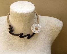 Crochet Tube Choker Necklace Wrapped Bloom by vanessahandmade, $35.00