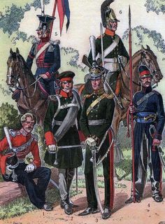 Guard Cossack officer (1), Line Jager Officer (2), Guard Chasseur a Cheval Officer (3), Polish Uhlan Trooper (4), Riga Dragoon Trooper (5), Don Cossack Trooper (6)