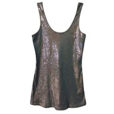 Express Gray & Silver Sequin tank In excellent condition Express Tops Tank Tops