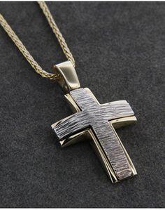 Σταυρός βάπτισης χρυσός & λευκόχρυσος Κ14 Ring Necklace, Earrings, Boy Christening, Gold Chains For Men, Holy Cross, Crosses, Jewelry Design, Jewelry Making, Pendants
