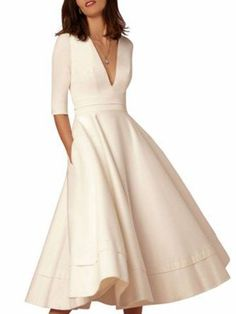 Women Prom Dress Going out 3/4 Sleeve Solid Dress #Women'sPromDresses