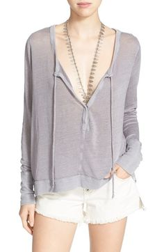 6df3b35f77f Free People  Affogato  Linen Blend Split Neck Top