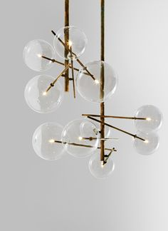 For Sale on - Gallotti & Radice Bolle 6 Sphere Suspension Lamp in Glass and Burnished Brass. Hanging pendant lamp with six transparent blown glass spheres. Interior Lighting, Home Lighting, Modern Lighting, Lighting Design, Lighting Ideas, Deco Luminaire, Luminaire Design, Light Fittings, Light Fixtures