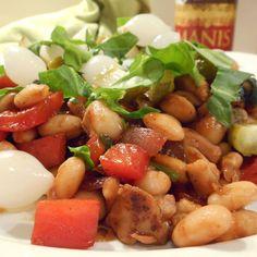 Witte ketjapbonen met spinazie, kip, paprika, rode ui, zilveruitjes en augurk - Het keukentje van Syts Pickles, Salsa, Good Food, Pork, Mexican, Ethnic Recipes, Sweet, Red Peppers, Kale Stir Fry