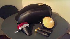 3M carbon vinyl wrap & gold headlight film
