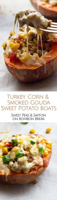 Stuffed with a Mexican turkey and corn mixture and then smothered with smoked Gouda, these sweet potato boats make a for a healthy, gluten-free meal.
