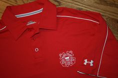 Under Armour United States Coast Guard red Polo Shirt Men's Medium golf new #UnderArmour #PoloRugby