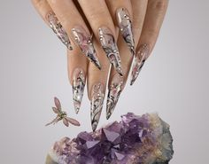 Charming Stiletto Nail Art Design Idea With Fabulous Abstract Floral Painting Motif Idea And Some 3D Pearls Ornament