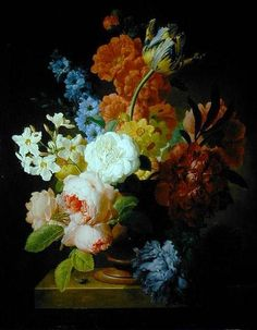 Still life, flowers in marble urn