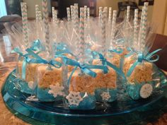 Made these for my little girls party! Rice Krispie treats with snow flakes