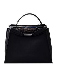 46f0334d7b8e Fendi  Metallic Croc Peekaboo Satchel Best Handbags