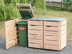 Garbage Can Shed, Garbage Can Storage, Recycling Storage, Garbage Recycling, Outside Storage, Outdoor Storage, Bin Storage Ideas Wheelie, Bin Store Garden, Potager Palettes