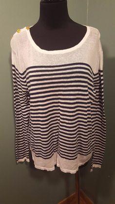 Sioni White Navy Striped Linen Cotton Nautical Long Sleeve Thin Knit Sweater L #Sioni #Crewneck #daystarfashions $19
