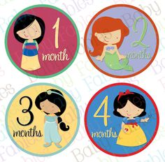 NEW Monthly Baby Stickers  Princesses by babyfables on Etsy, $8.75