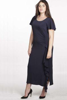 Queenspark Plus Collection Social Dresses, No Frills, Knit Dress, Cold Shoulder Dress, Short Sleeve Dresses, Navy, Knitting, Shirts, Venus