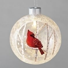 "4 3/4"" LED Cardinal Ornament ornaments, christmas ornaments, tree d?cor, cardinal  ornaments, glass ornaments, red bird,30169"