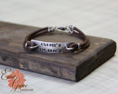 Custom Coordinates Bracelet, Sterling Silver Bar, Personalized Jewelry, Leather Rustic Bracelet, Hand Stamped Message