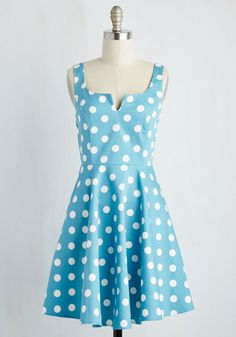 Wowing Whimsy Dress. When friends get a load of this dusty blue fit and flare, theyll flip out in support of your fashionable decision! #blue #modcloth