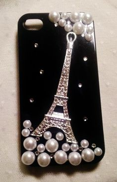 Diy Handmade Lace Pearl Phone Case V. Sparkling French Eiffel Tower (Black) for - Black Iphone Case - Ideas of Black Iphone Case - Diy Handmade Lace Pearl Phone Case V. Sparkling French Eiffel Tower (Black) for iPhone 4 Galaxy Note Other Phones Bling Phone Cases, Cheap Phone Cases, Diy Phone Case, Cute Phone Cases, Iphone 7 Plus Cases, Diy Mobile Cover, Mobile Cases, Black Iphone 7 Plus, Accessoires Divers