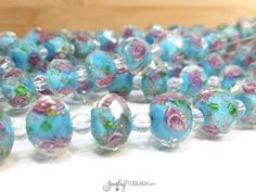 Turquoise Crystal Beads, Crystal Flower Inside Beads, Faceted Crystal Rondelles, Rose Flower Beads, 11x9mm, Hole 2mm, Lot Size 6 to 14