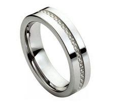 Tungsten Carbide Inlaid White Carbon Fiber Ring 6MM
