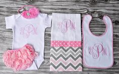 Monogrammed baby girl baby shower coming home outfit pink and gray onepiece bloomers burp cloth bib and pink shabby flower headband newborn on Etsy, $55.00