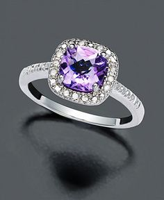 Victoria Townsend Sterling Silver Ring, Purple Amethyst (1-1/4 ct. t.w.) and Diamond (1/10 ct. t.w.) - FINE JEWELRY - Jewelry & Watches - Macy's // I want this... Just because...