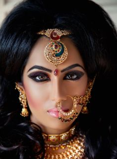 I've never had the pleasure to do makeup on an indian bride, but this would be the look I would love to try! Edgy and exotic. A true lioness.