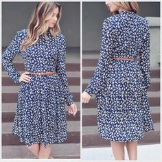 New with tags L/S floral dress w/belt Super cute and comfy dress. Comes above knee. Size medium rayon and polyester. Double Zero Dresses Long Sleeve