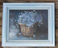 Shabby Chic Vintage Oil Painting with Blue Cottage Wild Flowers in Bushel Basket. $79.00, via Etsy.