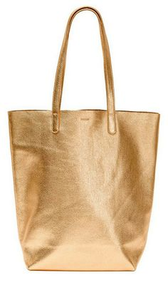 BAGGU Basic Leather Tote in Gold // Leif #Shopify