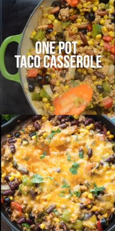 One Pot Taco Casserole is an easy weeknight meal! Its the perfect amount of spicy with ground turkey chili beans taco seasoning and lots of cheese! We loved this meal and we ate it for leftovers with chips as a dip. Casserole Recipes, Meat Recipes, Crockpot Recipes, Vegetarian Recipes, Cooking Recipes, Healthy Recipes, Crockpot Ground Turkey Recipes, Ground Chuck Recipes, Recipes With Ground Turkey