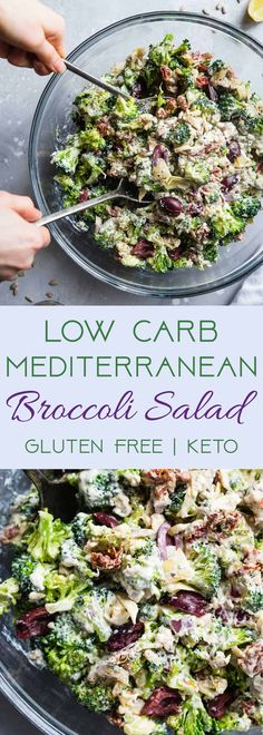 Low Carb Mediterranean Broccoli Salad - broccoli, olive oil marinated artichoke hearts, sun-dried tomatoes in olive oil, pitted kalamata olives, red onion, roasted salted sunflower seeds, plain non-fat Greek yogurt, fresh lemon zest, monkfruit/other granulated sweetener, dried oregano, fresh minced garlic, dried ground basil, dried ground thyme, sea salt, pepper, oil from sun-dried tomatoes jar (might reduce)