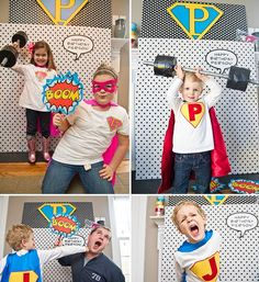 Kids Birthday Photo Booth idea Bam Boom Pow - but the B/W polka Dot with Super hero Initial -