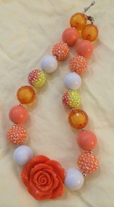 Orange Flower Bubblegum Bead Necklace by CraftyCreationsByLB, $16.00