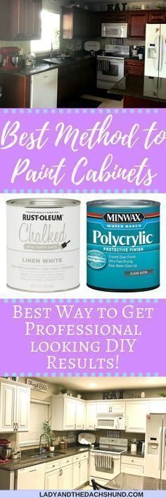 DIY Painted Kitchen Cabinets: Chalk Paint! Rust-Oleum Chalked paint helped us turn our dark kitchen cabinets into a new beauty white kitchen! Best method for DIY painting your kitchen cabinets white! You can DIY paint kitchen cabinets white very easy with