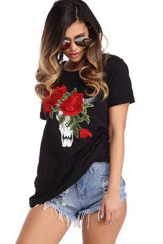 Black Bullhead Floral Tunic
