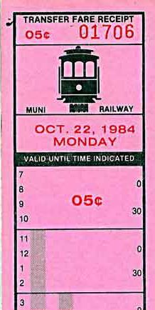 Senior citizen fare receipt/transfer from San Francisco Municipal Railway issued on cable cars (1984)