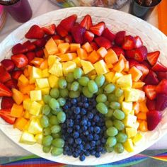 Fruit Rainbow It's no secret that I LOVE fruit. With spring upon us and summer quickly approaching, all different types of fruit are in season. I love the idea of making a fruit rainbow for a party platter. It's also a great way to eat your colors and to get kids to eat healthy as well.