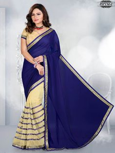 Blue & Beige Embroidered Saree With Unstitched Blouse Piece - New Arrival - Shop By Type - Sarees