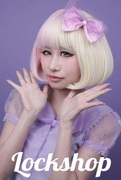 Lockshop: Pastel Raindrops Bob wig in pink & blonde