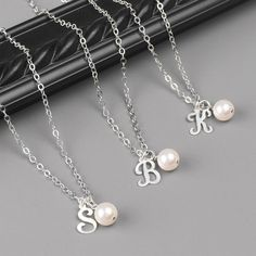 Pearl Bridesmaid Necklace Set of 3  5 OFF by MyDistinctDesigns, $79.80 Personalize your bridesmaid gift by choosing the pearl necklace with your bridesmaids initials.  The swarovski pearls are available in a variety of colors to compliment your bridesmaid dresses.  A great gift for your special girls that they will enjoy for years to come.