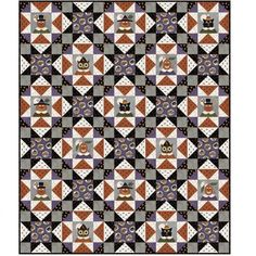 """What a beautiful quilt this Happy Jacks Flannel makes by Bonnie Sullivan. Made from her new Woolies Flannel Collection. The fabric does all the work. The Happy jacks are printed on the fabric. The quilt finished 60"""" x 72"""" Flannel Quilts, Fall Quilts, Star Quilts, Quilt Blocks, 24 Blocks, Sampler Quilts, Halloween Sewing, Halloween Quilts, Christmas Sewing"""