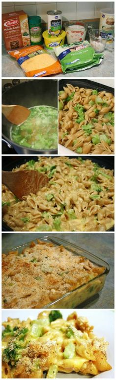 Baked Mac and Cheese with Broccoli.