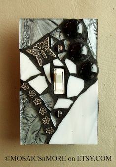 Silver and Shiny - HANDMADE - Mosaic Light Switch Cover Wall Plate by MOSAICSnMORE